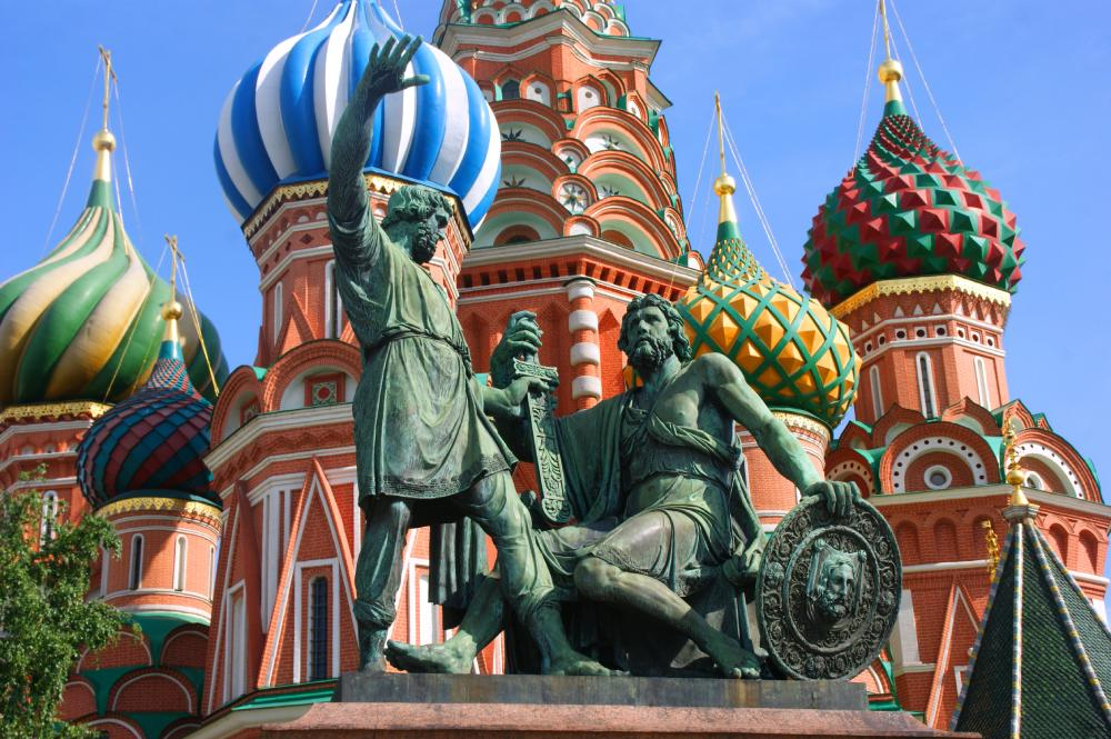 Picture: The Monument to Minin and Pozharsky located on the Red Square in front of Saint Basil's Cathedral in Moscow