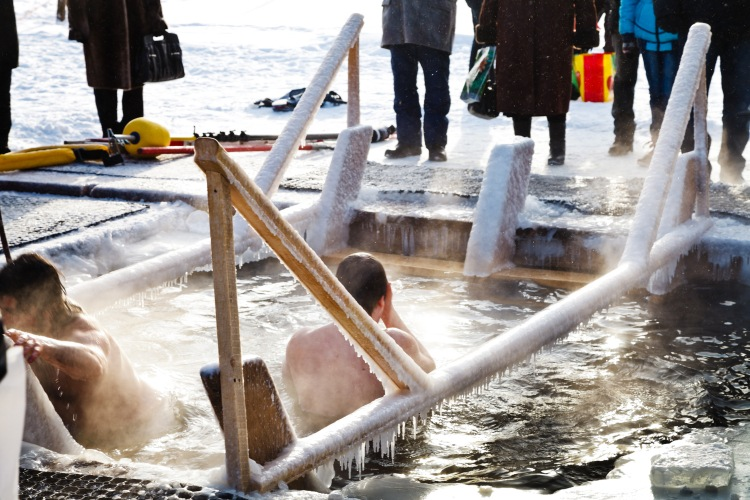 Picture: People diving in a ice hole for Kreshenye, also known as the rite of the Great Blessing of the Waters