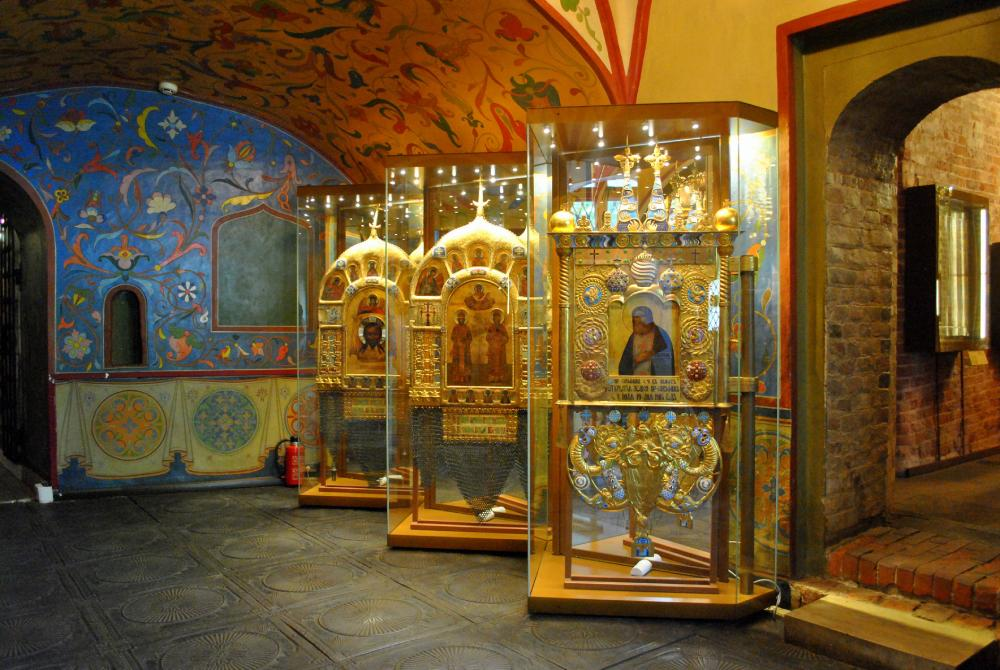 Picture: Religious paintings, known as icons, inside Saint Basil's Cathedral in Moscow