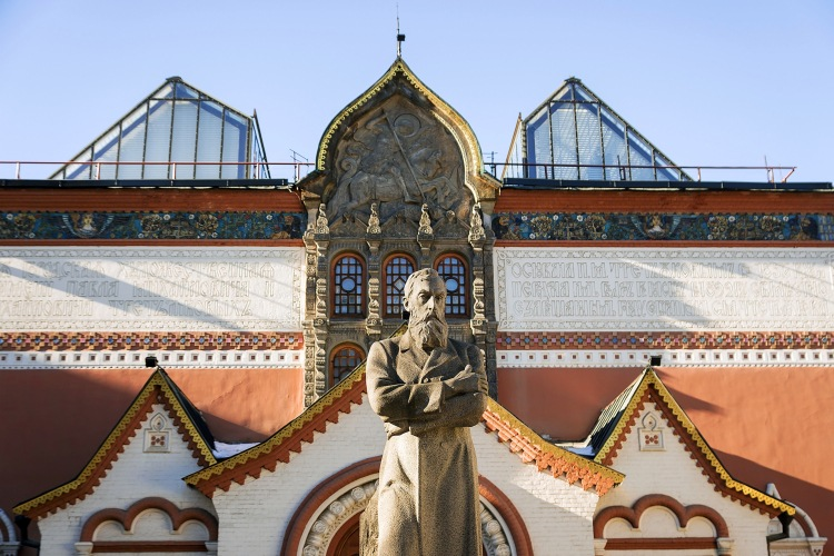 Picture: Monument to the merchant Pavel Tretyakov in front of the Tretyakov Gallery in Moscow